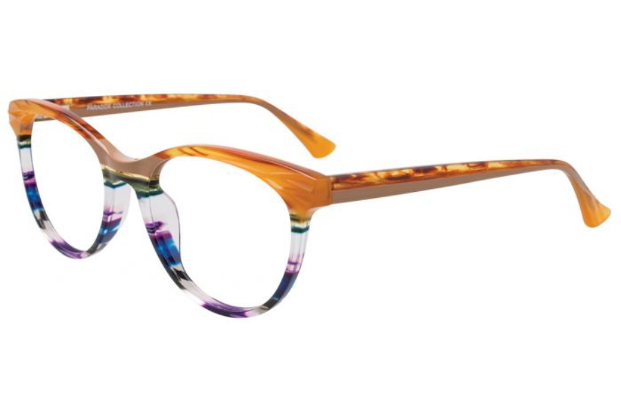Paradox P5057 Eyeglasses in 010 - Brown Mabrled & Multicolor Stripes