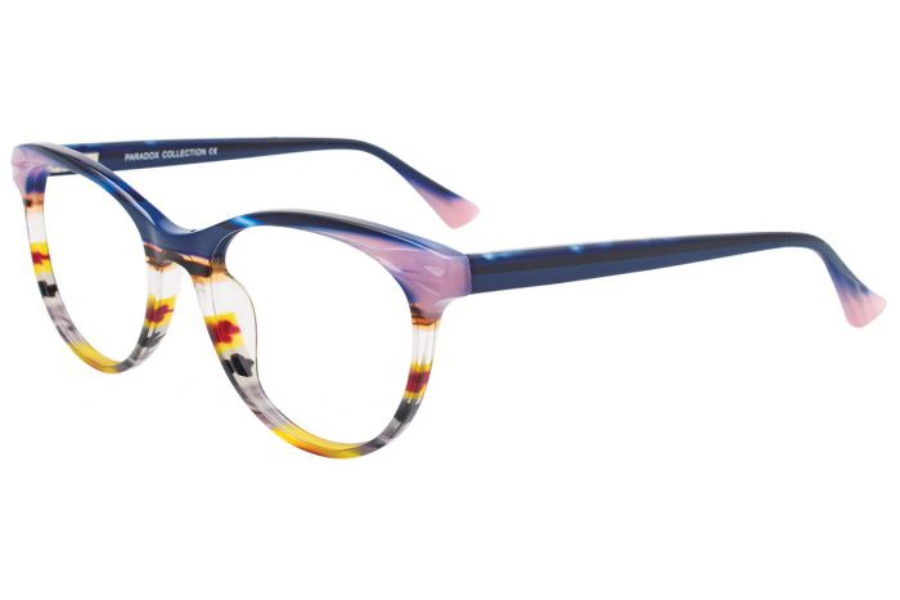 Paradox P5057 Eyeglasses in 050 - Blue & Pink & Multicolor Stripes