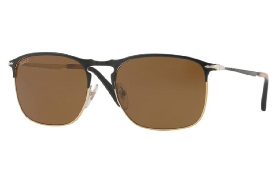aed338269b Persol PO 7359S Sunglasses in 107057 Matte Black Gold  Polar Brown ...
