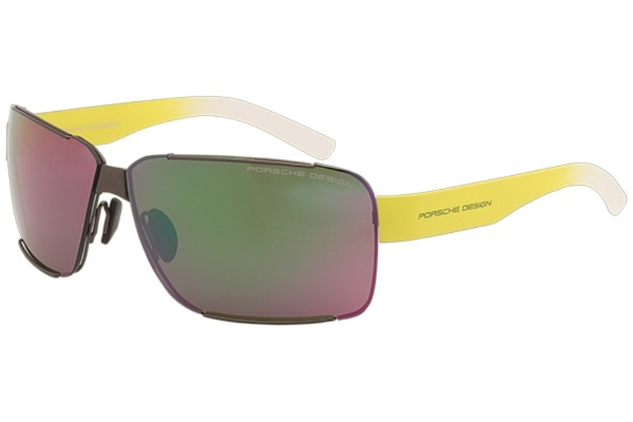 Porsche Design P 8580 Sunglasses in D Dark Gun / Brown / Flash Green, Mirror