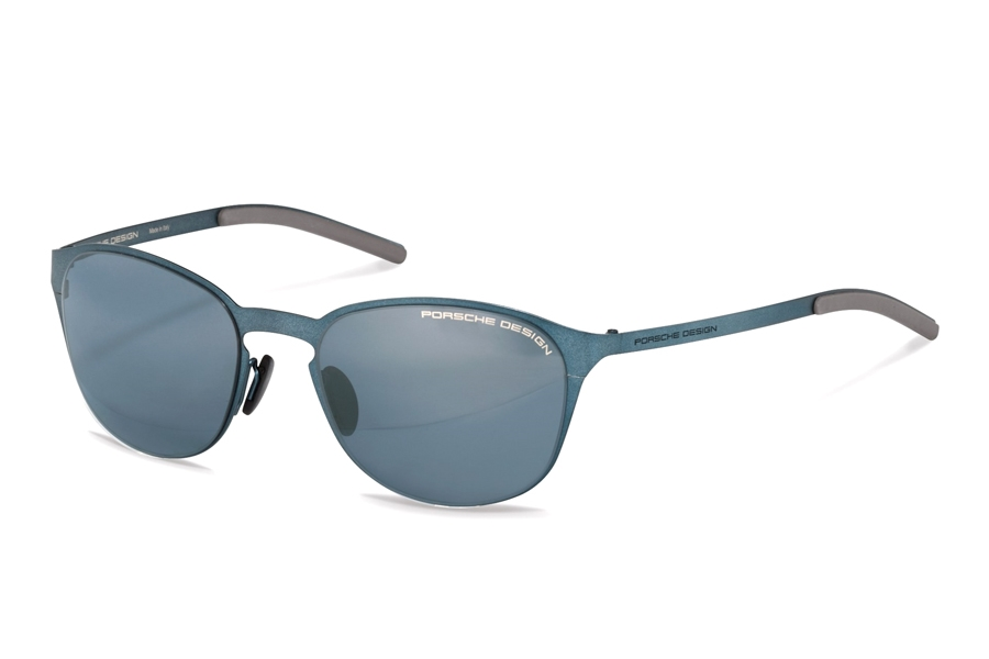 Porsche Design P 8666 Sunglasses in D Blue w/Black Blue Silver Mirrored