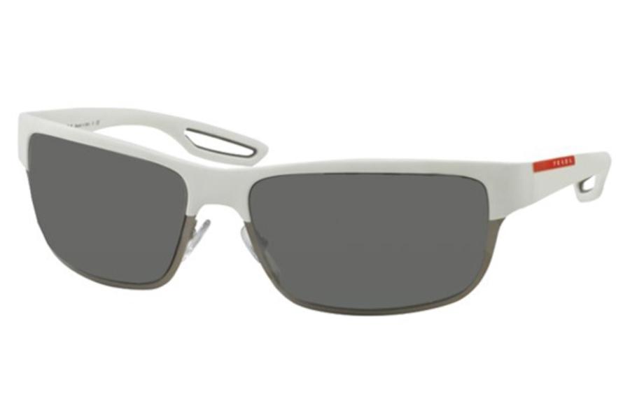 78a43dc8c3623 ... Prada Sport PS 50QS Sunglasses in TWK7W1 White Rubber Matte Gunmetal  Grey Mirror Silver ...