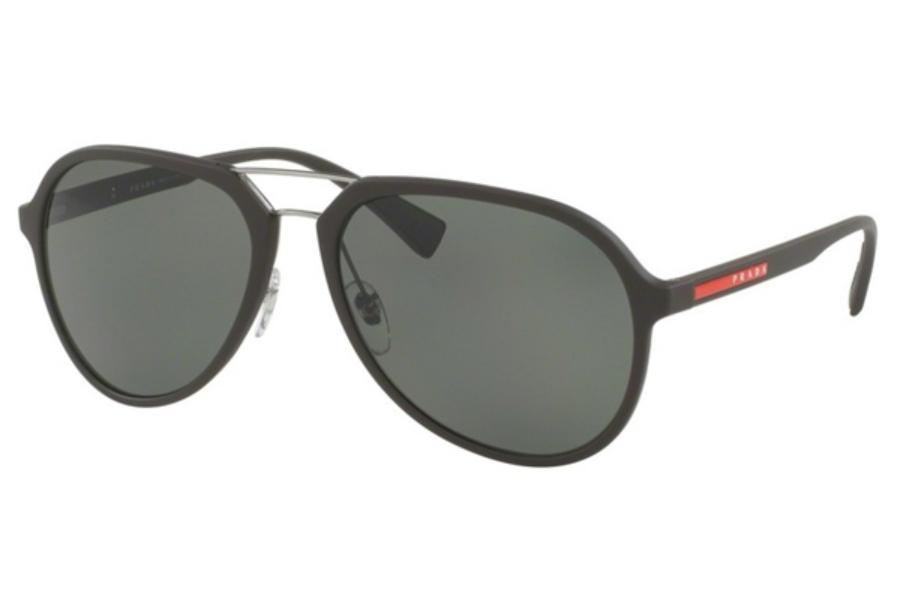 2849eeb71881 ... Grey Mirror Silver; Prada Sport PS 05RS Sunglasses in UB05X1 Brown  Rubber / Polar Green ...