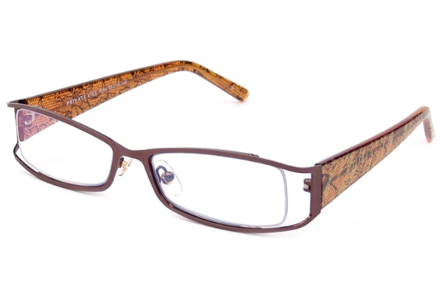 Private Eyes Readers TIGERLILLY PE220 READERS Readers in +1.00 Satin Brown w/ Amber Crystal Temples