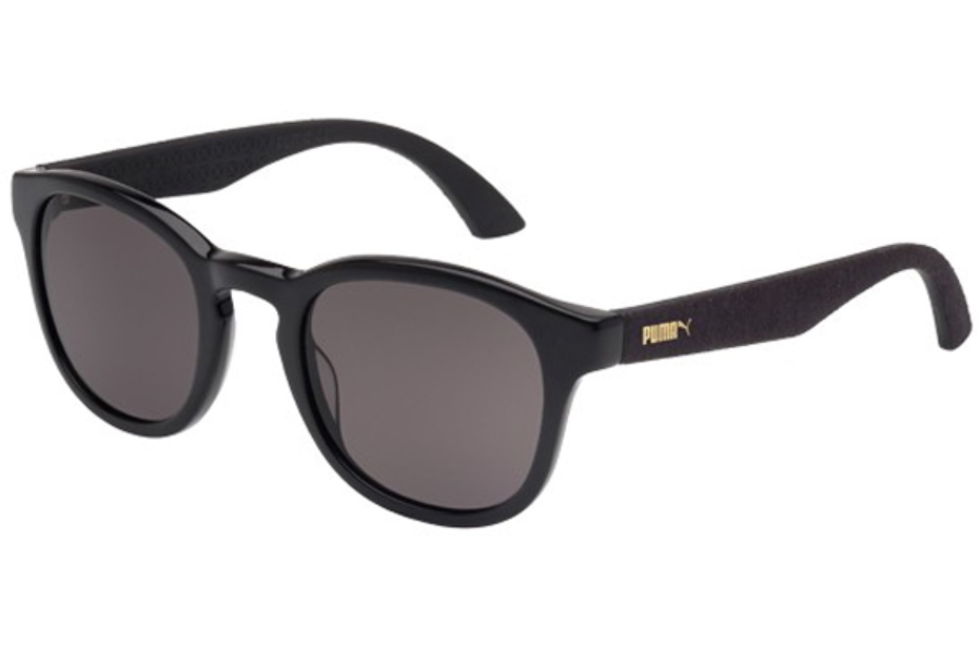 Puma PU0042S Sunglasses in 002 Black Shiny with Black Alcantara Temples and Grey Lens