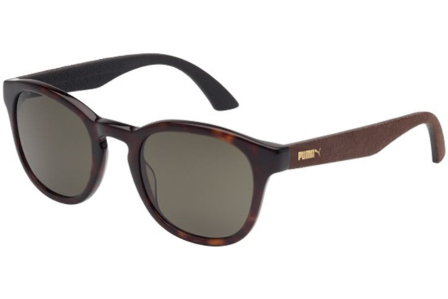Puma PU0042S Sunglasses in 003 Havana Shiny with Brown Alcantara Temples and Brown Lens
