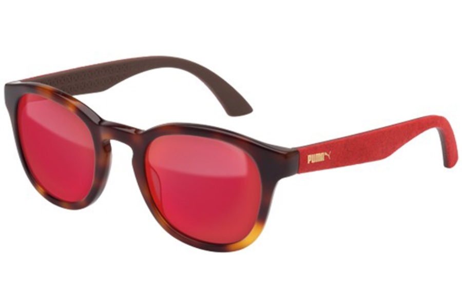 Puma PU0042S Sunglasses in 004 Havana Shiny with Red Alcantara Temples and Red Lens