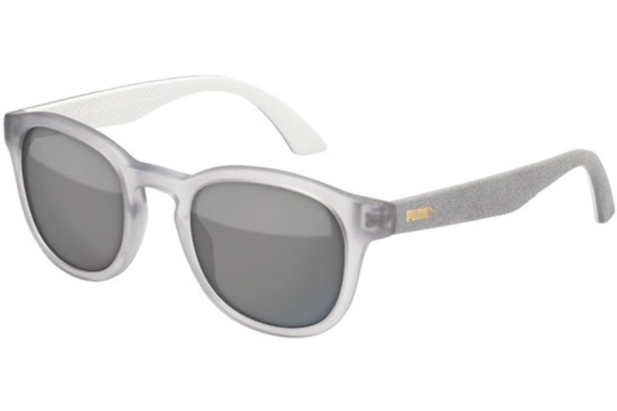 Puma PU0042S Sunglasses in 005 Transp. Grey with Grey Alcantara Temples and Smoke Lens