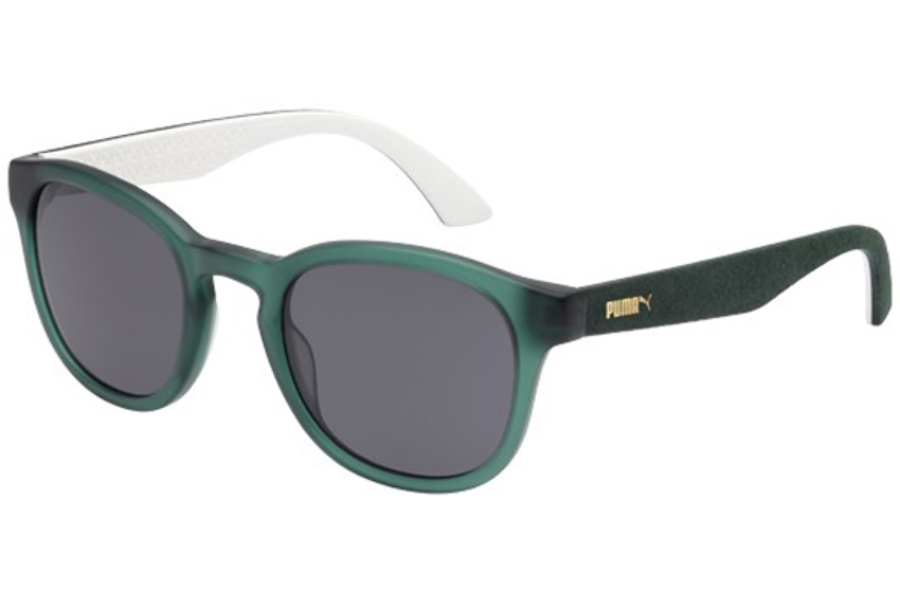 Puma PU0042S Sunglasses in 006 Transp. Green with Green Alcantara Temples and Smoke Lens