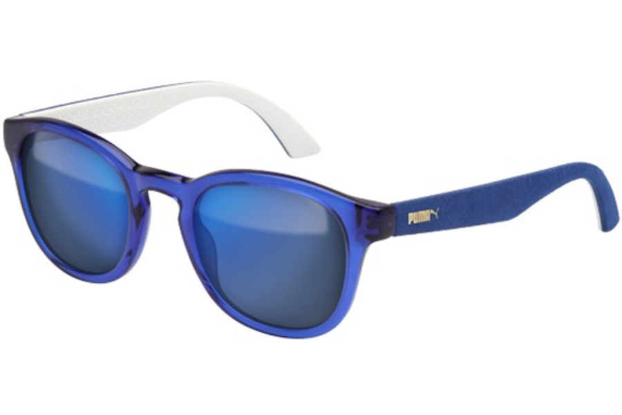 Puma PU0042S Sunglasses in 007 Transp. Blue with Blue Alcantara Temples and Blue Lens
