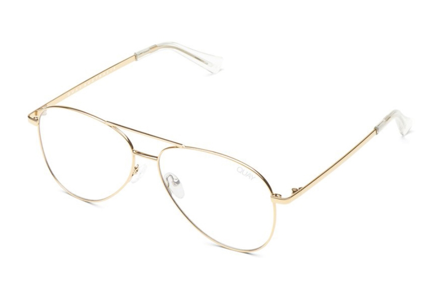 Quay Australia Still Standing Eyeglasses in Gold/Clear Blue Light