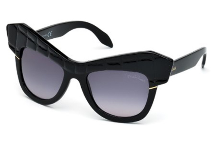 Roberto Cavalli RC750S WILD DIVA Sunglasses in 01B Shiny Black / Gradient Smoke