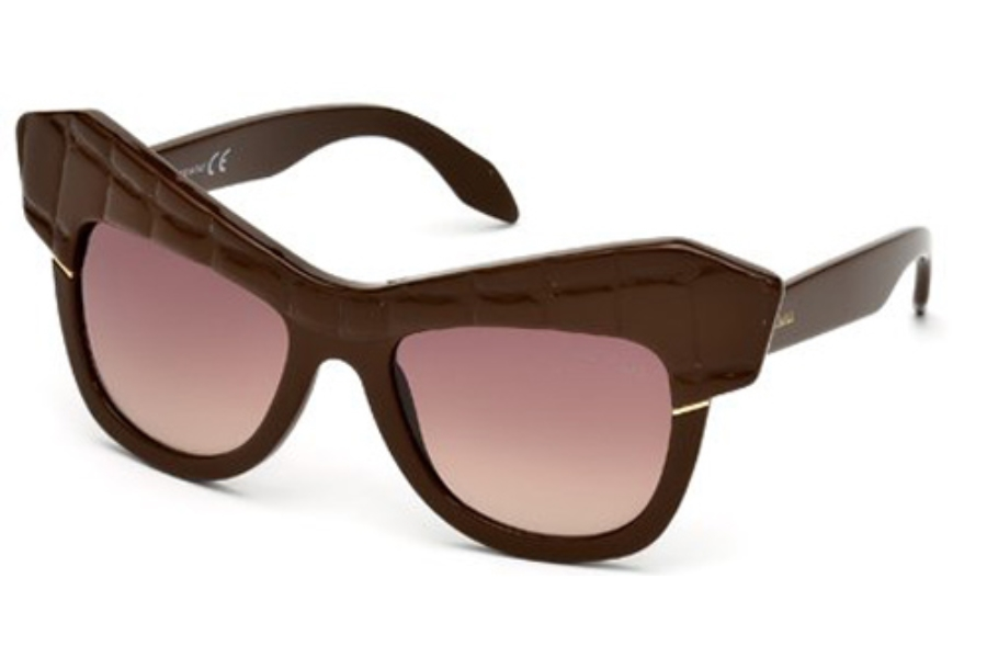 Roberto Cavalli RC750S WILD DIVA Sunglasses in 48F Shiny Dark Brown / Gradient Brown