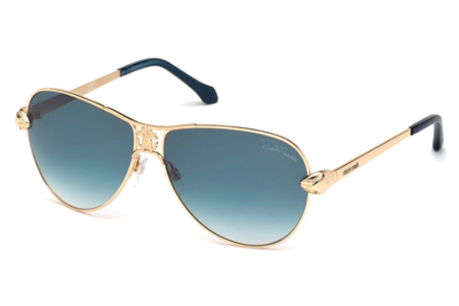 Roberto Cavalli RC883S Markab Sunglasses in 28W Shiny Rose Gold/Gradient Blue