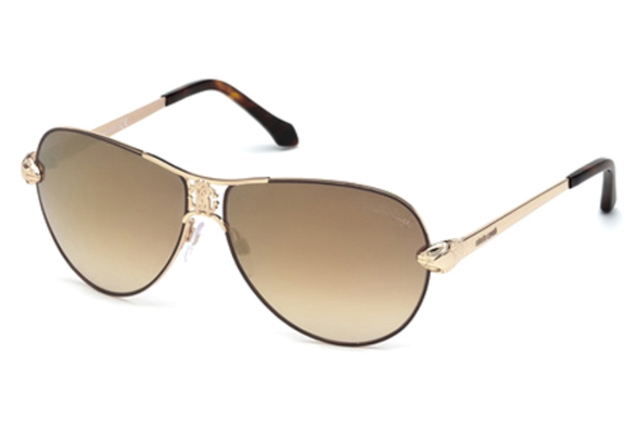 Roberto Cavalli RC883S Markab Sunglasses in 33G Gold/Other/Brown Mirror