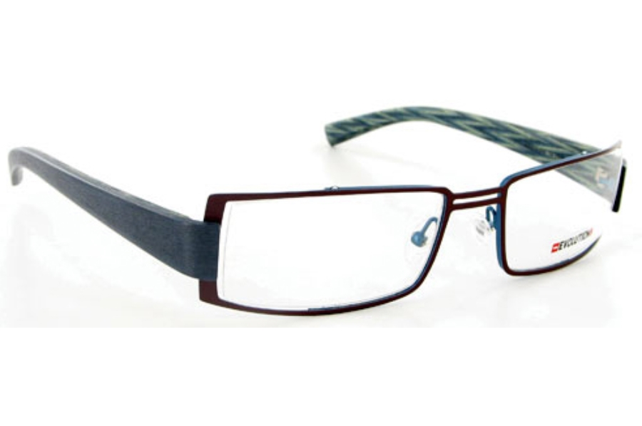 Evolution Art RE014 (Wood Temples) Eyeglasses in 046 Chestnut / Night Blue - Blue / Marquetery