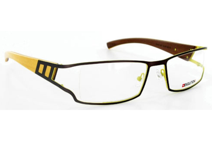 Evolution Art RE017 (Wood Temples) Eyeglasses in 057 Brown / Yellow - Yellow / Mahogany