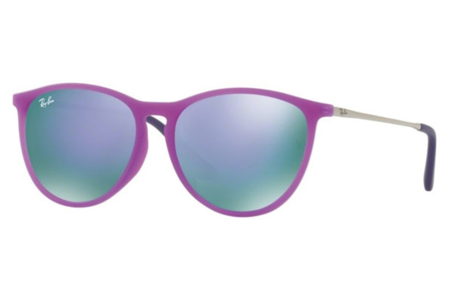 Ray-Ban Junior RJ 9060SF Sunglasses in 70084V Violet Fluo Trasp Rubber / Grey Mirror Violet