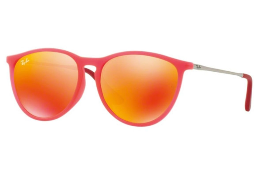Ray-Ban Junior RJ 9060SF Sunglasses in 70096Q Fuxia Fluo Trasp Rubber / Brown Mirror Orange