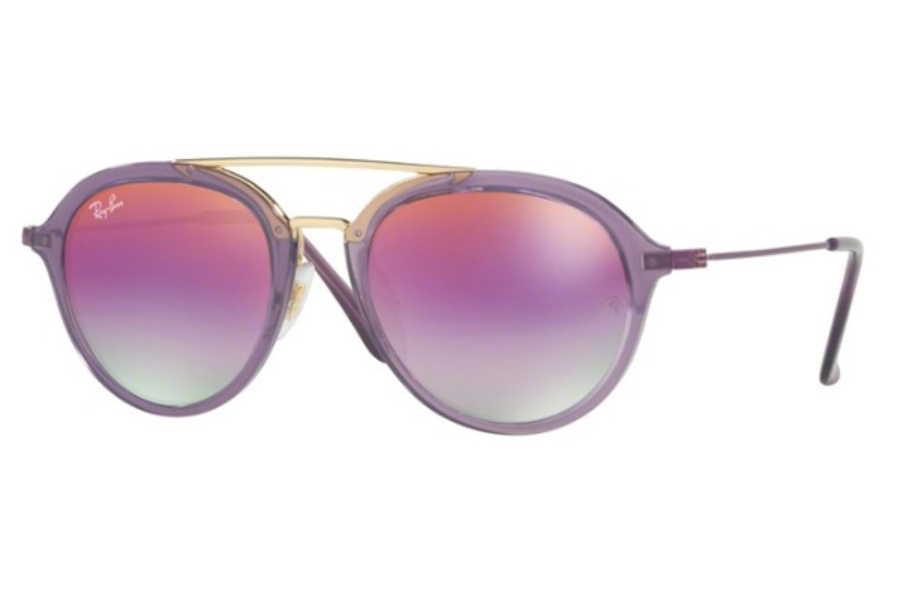 Ray-Ban Junior RJ 9065S Sunglasses in 7036A9 Trasparent Violet / Green Mirror Lillac Grad Viole