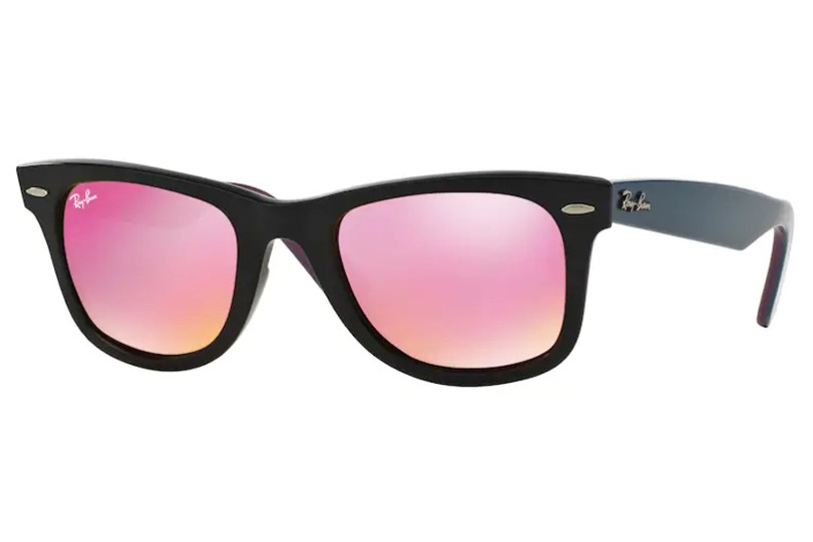 Ray-Ban RB 2140 Original Wayfarer Sunglasses in 11744T Black / Green Mirror Fuxia (Discontinued)