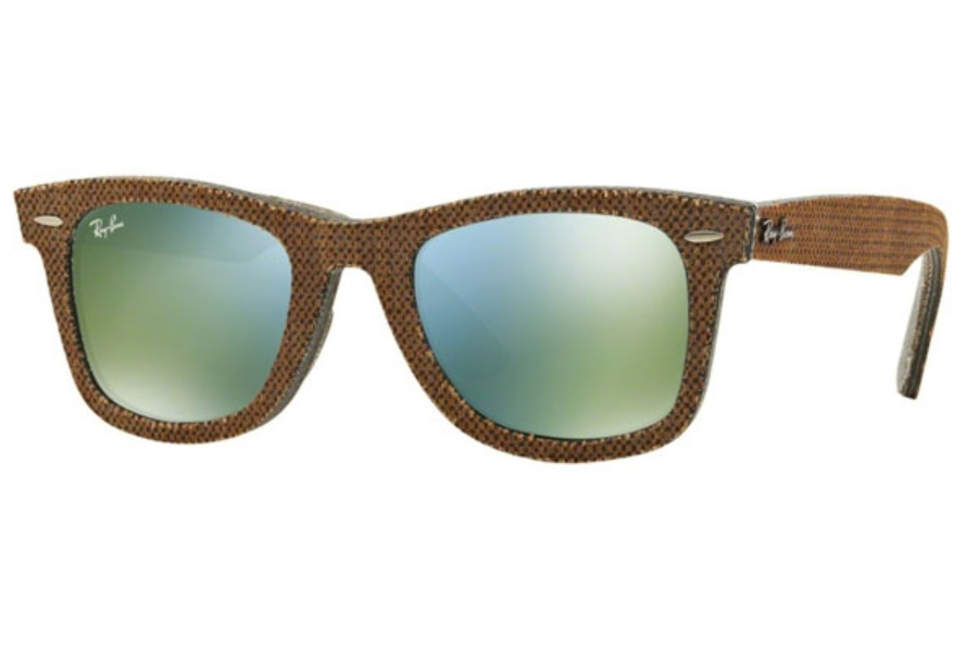 Ray-Ban RB 2140 Original Wayfarer Sunglasses in 11912X Top Osaka Brown On Jeans Grey / Green Mirror Green (Discontinued)