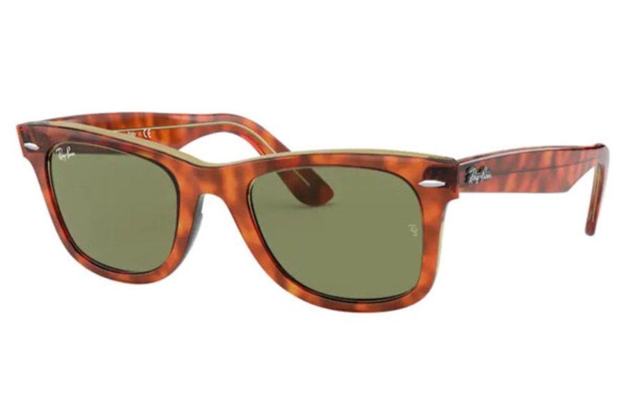 Ray-Ban RB 2140 Original Wayfarer Sunglasses in 12934E Light Havana On Trasp Yellow / Bottle Green