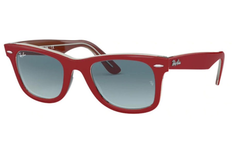 Ray-Ban RB 2140 Original Wayfarer Sunglasses in 12963M Red On Trasparent Grey / Blue Gradient