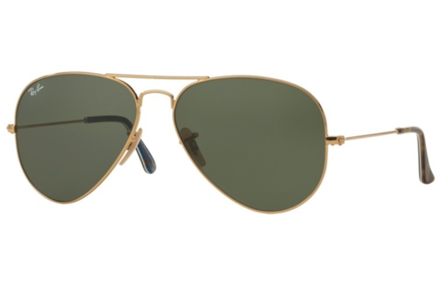 Ray-Ban RB 3025 (Aviator Large Metal with Mirrored Lenses) Sunglasses in 180 Gold / Green