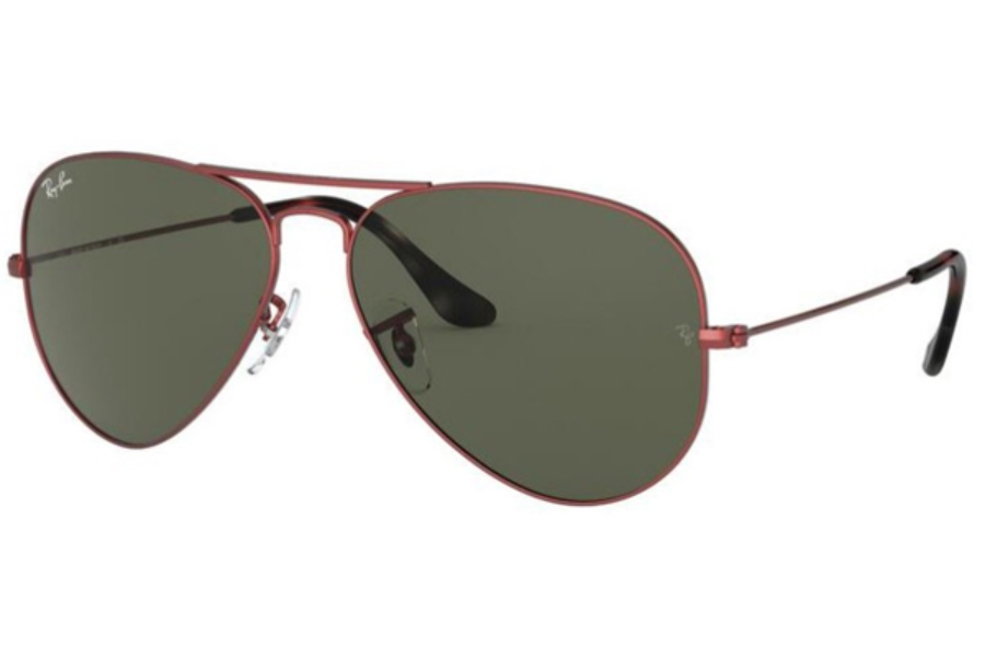 Ray-Ban RB 3025 (Aviator Large Metal) Continued Sunglasses in 918831 Sand Trasparent Red / Green