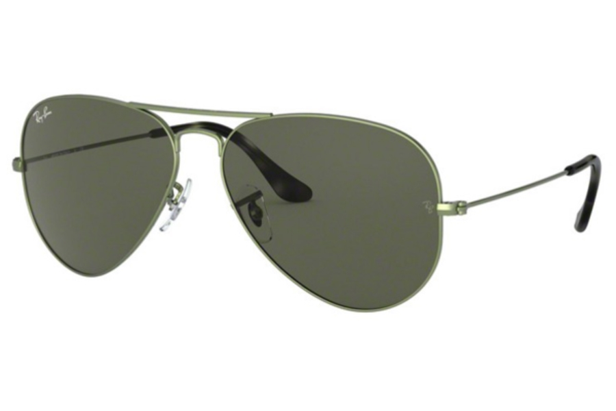 Ray-Ban RB 3025 (Aviator Large Metal) Continued Sunglasses in 919131 Sand Trasparent Green / Green