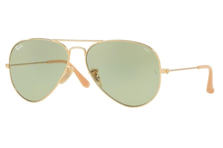 Ray-Ban RB 3025 (Aviator Large Metal) Continued Sunglasses in 90644C Gold / Photo Green (Only 58 and 55 Size Available)