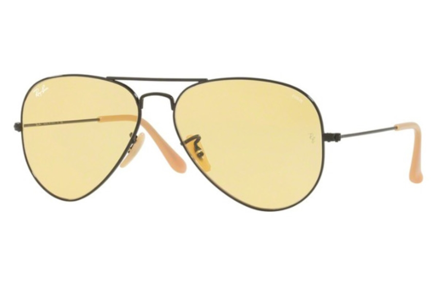 Ray-Ban RB 3025 (Aviator Large Metal) Continued Sunglasses in 90664A Matte Black / Photo Yellow (Only 58 Size Available)