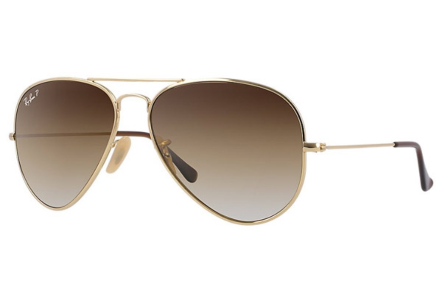 Ray-Ban RB 3025 (Aviator Large Metal with Polarized Lenses) Sunglasses in 001/M2 Shiny Gold Crystal Polar Brown Gradient (58 eyesize only)