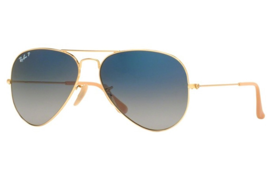 Ray-Ban RB 3025 (Aviator Large Metal with Polarized Lenses) Sunglasses in 001/78 GOLD / gradient blue polar