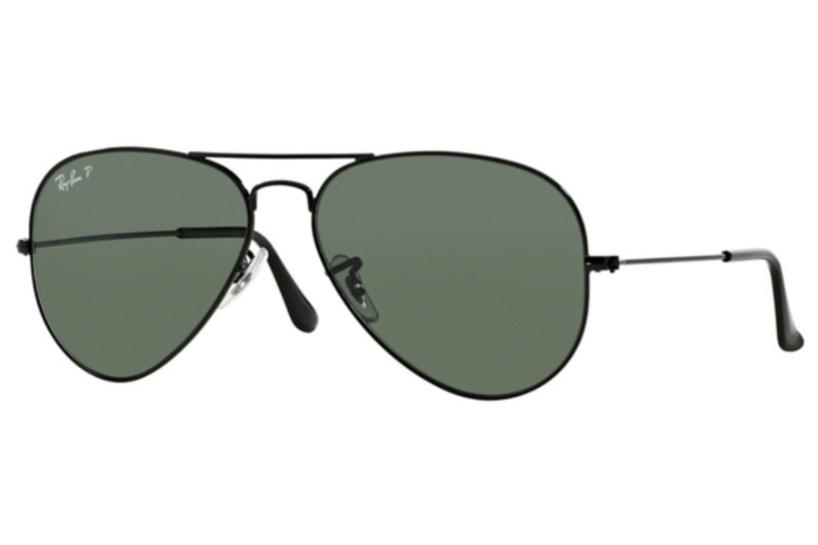 Ray-Ban RB 3025 (Aviator Large Metal with Polarized Lenses) Sunglasses in 002/58 Black Crystal Green Polarized