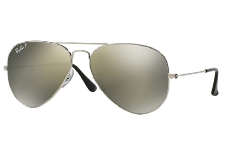 Ray-Ban RB 3025 (Aviator Large Metal with Polarized Lenses) Sunglasses in 003/59 Silver Crys.Polar Green Silver Mirror (58 Eyesize Only)