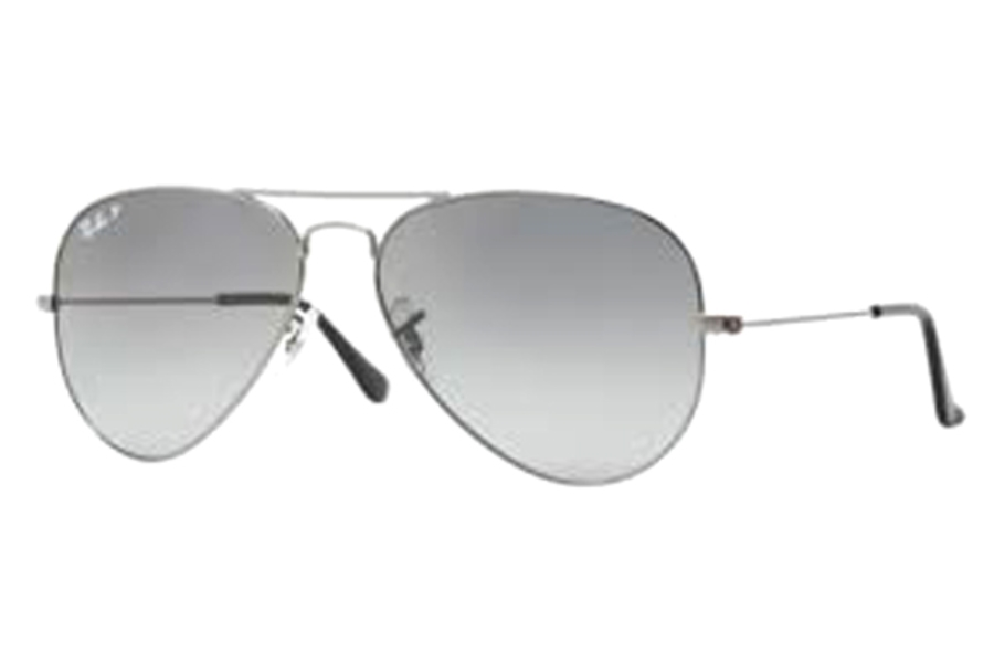 Ray-Ban RB 3025 (Aviator Large Metal with Polarized Lenses) Sunglasses in 004/78 Gunmetal Crystal Polar Blue Grad.Grey