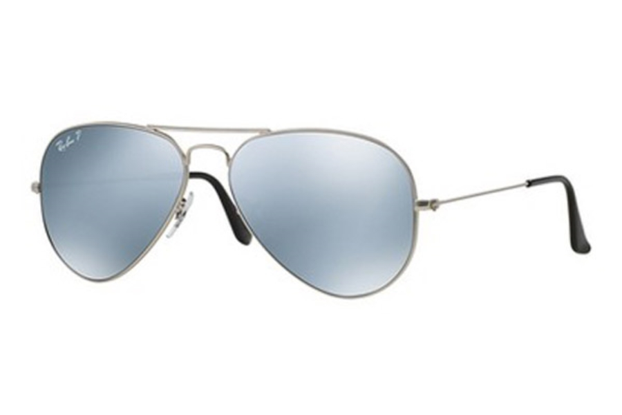 Ray-Ban RB 3025 (Aviator Large Metal with Polarized Lenses) Sunglasses in 019/W3 Silver Silver Mirror Polar (58 Eyesize Only)