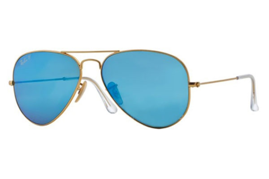 Ray-Ban RB 3025 (Aviator Large Metal with Polarized Lenses) Sunglasses in 112/4L Matte Gold / Blue mirror polar (58 Eyesize Only)