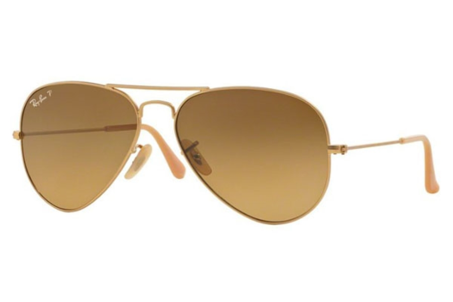 Ray-Ban RB 3025 (Aviator Large Metal with Polarized Lenses) Sunglasses in 112/M2 Matte Gold / Polar Brown