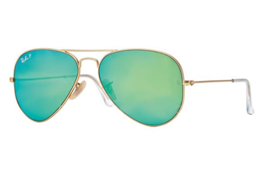 Ray-Ban RB 3025 (Aviator Large Metal with Polarized Lenses) Sunglasses in 112/P9 Matte Gold Green Mirror Polar (58 Eyesize Only)