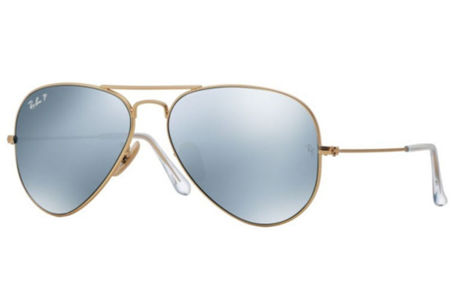 Ray-Ban RB 3025 (Aviator Large Metal with Polarized Lenses) Sunglasses in 112/W3 Matte Gold / Polar Dark Grey (58 Eyesize Only)