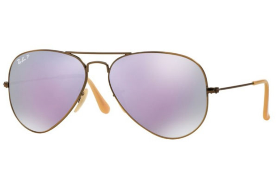 Ray-Ban RB 3025 (Aviator Large Metal with Polarized Lenses) Sunglasses in 167/1R Brushed Bronze Demishiny / Grey Mirror Lilac Polar (58 Eyesize Only)