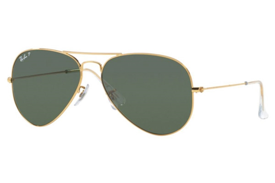 Ray-Ban RB 3025 (Aviator Large Metal with Polarized Lenses) Sunglasses in W3361 Matte Black Polar Green (58 Eyesize Only)