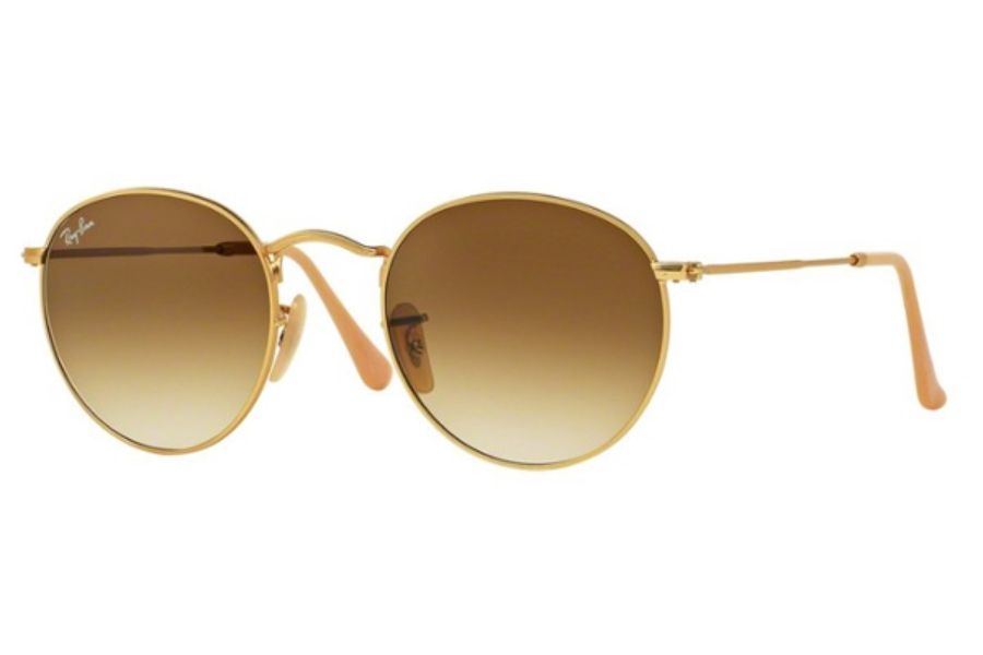 Ray-Ban RB 3447 ROUND METAL Sunglasses in 112/51 Matte Gold / Clear Gradient Brown ( Only 50 Eye size Aailable)