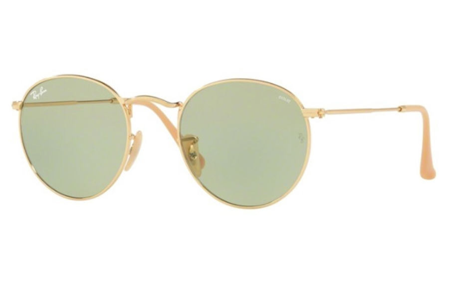 Ray-Ban RB 3447 ROUND METAL Sunglasses in 90644C Gold / Photo Green ( Only 50 and 53 Eye size Aailable)