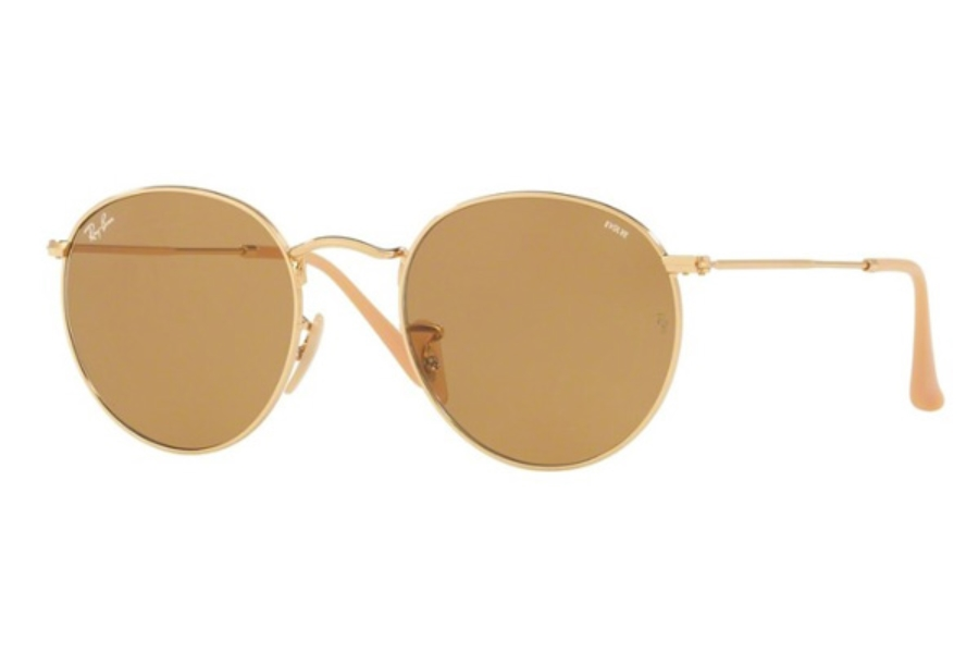 Ray-Ban RB 3447 ROUND METAL Sunglasses in 90644I Gold / Photo Brown  ( Only 50 and 53 Eye size Aailable)