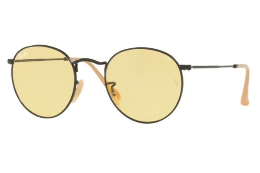 Ray-Ban RB 3447 ROUND METAL Sunglasses in 90664A Matte Black / Photo Yellow  ( Only 50 and 53 Eye size Aailable)