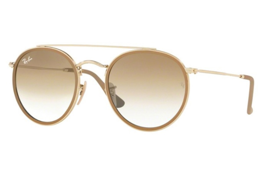 Ray-Ban RB 3647N Sunglasses in 904851 Shiny Gold / Clear Gradient Brown
